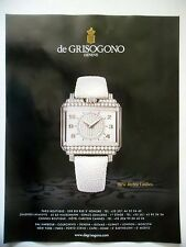 PUBLICITE-ADVERTISING :  de GRISOGONO New Retro Ladies  2016 Montres