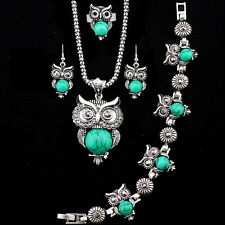 Fashion Jewelry Necklace Bracelet Earring Ring Owl Pendant Turquoise Jewelry Set