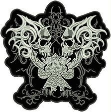 Iron On/ Sew On Embroidered Patch Badge Skull Gothic Pair Large