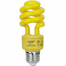 13 Watt Yellow Bug Light Spiral CFL Bulb E26 Medium Base. FREE SHIPPING US UL!!!