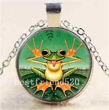 Naughty Cute Frog Photo Cabochon Glass Tibet Silver Chain Pendant  Necklace