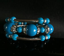 """3 rows Lucky Tibet silver Synthetic turquoise  bracelet 7.5"""""""