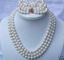 3 ROWs 7-8mm WHITE AKOYA PEARL NECKLACE & BRACELETS Set