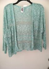212 COLLECTION WOMENS Crochet OPEN CARDIGAN--XL, Green NWT