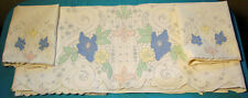 MADEIRA SHEET SET 1920's UNUSED COLORED CUTWORK & FLORAL EMBRODERY PR. CASES TAG