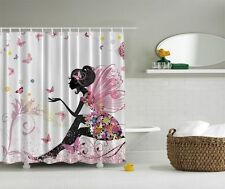 Cute Fairy Wings Shower Curtain Spring Colorful Butterflies Flowers Bath Decor