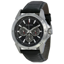 Bulova Multi-Function Black Dial Black Leather Mens Watch 96C113