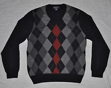 Argyle V-Neck 100% Merino Wool Sweater Men's Medium M Navy Blue BROOKS BROTHERS