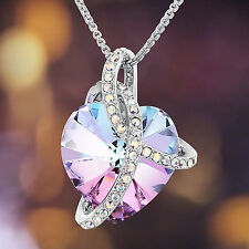 Gradient Purple Heart Necklace Chain Swarovski Crystal Valentine's Day Gift Her