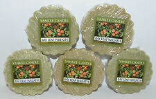 LOT OF 5 YANKEE CANDLE BAY LEAF WREATH TARTS WAX MELTS CANDLE WARMER TART GREEN