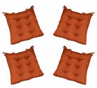 Set of 4 In / Outdoor Tufted Chair Seat Cushion - Rust Clay Orange - Choose Size