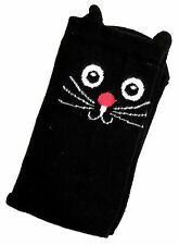LADIES BLACK CAT WITH 3D EARS ONE SIZE BLACK SOCKS