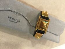 Vintage Authentic Hermes Medor Ladies Secret Watch Black Strap EUC 1993