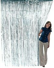 Silver Metallic Fringe Curtain Party Foil Tinsel Room Decor 3' x 8' Wholesale