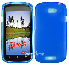 New Premium BLUE Soft Gel TPU Cover Case For HTC One S + Screen Protector