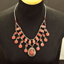 Red CORAL Genuine Stone KUCHI Tribe BellyDance Asian NECKLACE 800j7
