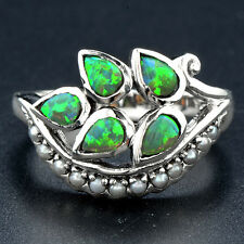 2CT Australian Opal & Pearl 925 Solid Sterling Silver Victorian Style Ring Sz 7