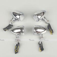 4x16 Amber LED Motorcycle Bullet Blinker Turn Signals Indicator Light Chrome 12V