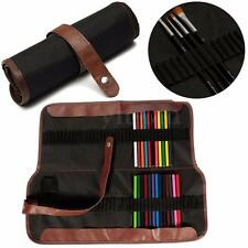 72 Hole Canvas Leather Sketch Roll-Up Pencils Wrap Case Holder Artist Organizer