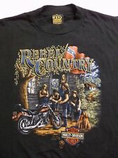 1987 Harley Davidson 3D Emblem Rebel Country CHOP SHOP T-Shirt flag Bridgeville