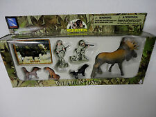 NEW Play Set MOOSE Wild Hunting Gun Camo Men Lab Dogs Figurines Cake Topper Toys
