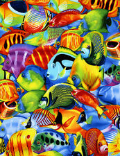 Tropical Fish Sealife Timeless Treasures Fabric #5328 Cotton Sew BTY