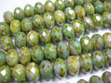 25 Green Picasso Czech Glass Rondelle Beads 9x6mm