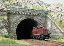 BUSCH 7023 H0 Tunnelportal, 2-gleisig mit 2 Böschungsmauern, Bausatz, Neu