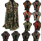 Fashion Women's Leopard&Hearts Print Soft Viscose Voile Long/Infinity Scarf New