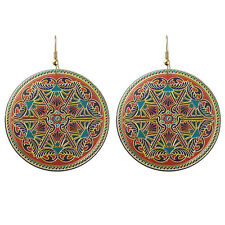 Vintage Style  Colourful Circle Round Drop Dangle Earrings E1074