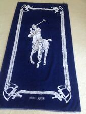 Rare! Polo Ralph Lauren Vintage 80's Beach Towel 35X 68 Navy White Polo Player