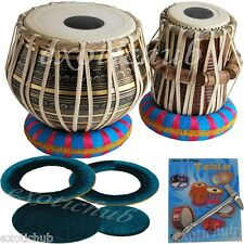TABLA DRUM~BLACK BRASS 2.5 KG BAYAN~SHESHAM WOOD DAYAN~FREE! HAMMER/CUSHION/BOOK