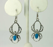 Vintage Sterling Silver Oval Turquoise Tarantula Spider Drop Dangle Earrings