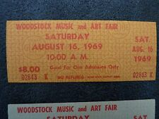 Original Woodstock Ticket 1969 Gold MINT w/ certificate and Globe ticket letter