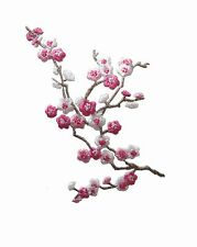 "#5036 3-3/4"" Pink White Quince Sakura Flower Embroidery Iron On Applique Patch"