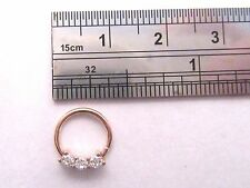 Rose Gold Triple Clear CZ Crystal Cartilage Daith Seamless Hoop 16 gauge 16g