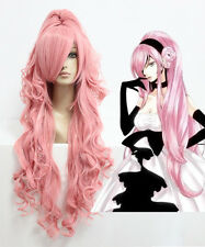 Anime Megurine Luka Vocaloid Long Smoke Pink Curly Fashion Cosplay Wig Ponytail