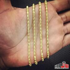 """14k Gold Finish .925 Silver 24"""" 3mm Bullet Chain Necklace Hip Hop Style Fashion"""