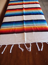 Serape ONWS-White Blanket Table Cover Seat Cover Throw Mexican Design 5' X 7'