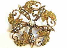 """Antique Victorian 10K Yellow Gold Seed Pearl Leaves Flower  Carved Brooch Pin 1"""""""
