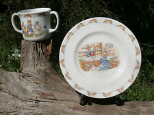 Royal Doulton Bunnykins Lot - Two Handle Mug and Mr Piggly's Store Plate