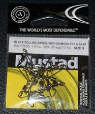 11 Pack Mustad 77550-09 Rolling Swivel with Diamond Eye and J-Hook Snap - Size 9