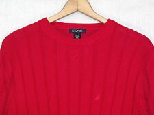 Nautica VTG red cable knit cotton sweater / men XXL / great / b2