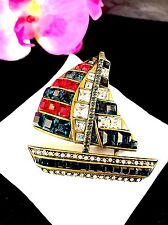 NIB HEIDI DAUS PRINCESS CUT RHINESTONES PATRIOTIC THIS SHIP HAS SAILED BROOCH