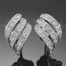 ANGEL WINGS Swarovski Elements Crystal White Gold Plated Stud Earrings 18-KRGP