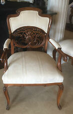 6 Art Nouveau Chairs Italian Carved Liberty Dining Game Salon 1900