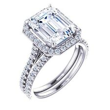 2.29 Ct. Emerald Cut Halo W/ Round cut Diamond Engagement Bridal Set F, VS2 EGL