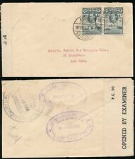 GOLD COAST WW2 CENSOR COVER 1942 to USA...UNITED AFRICA Co OVAL HANDSTAMP 2 x 2d