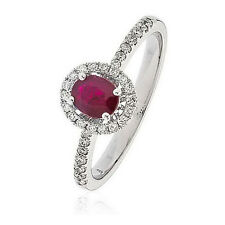 New Dazzling 18k White Gold Diamond & Ruby Sparkling Halo Oval Ring O.70ct total
