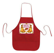 RED APRON CUSTOM RED HAT HAPPY HARVEST FOR LADIES OF SOCIETY TEAS OR LUNCHEON